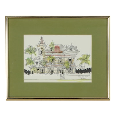 Ann Irvine Hand-Colored Lithograph View of House, 21st Century