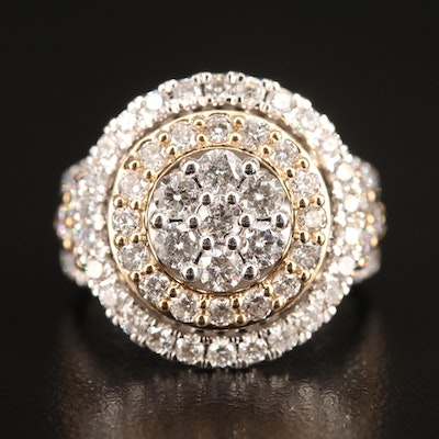 14K 3.25 CTW Diamond Double Halo Cluster Ring