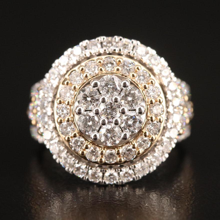 14K 3.25 CTW Diamond Double Halo Cluster Ring