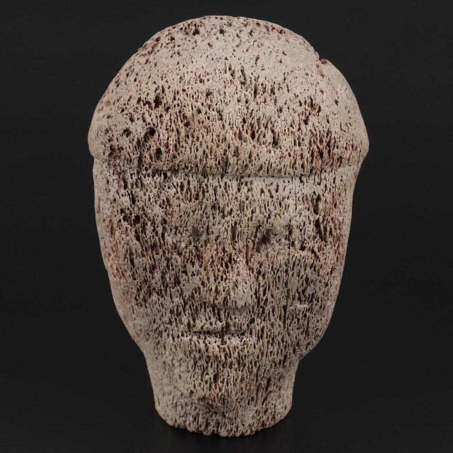 Inuit Carved Whale Bone Head Effigy