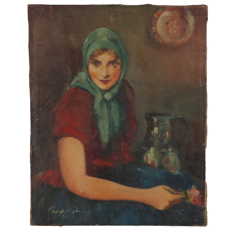 Oil Portrait of Woman with Flower and Urn, circa 1995