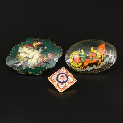 Vintage Italian Micromosaic Brooch with Russian Painted Brooches