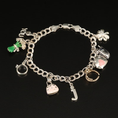 Sterling Charm Bracelet with Crown, Cellphone and Heart Locket Charms