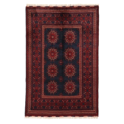4'0 x 6'3 Hand-Knotted Afghan Turkmen Kunduz Area Rug