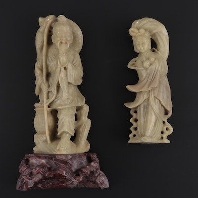 Chinese Carved Soapstone Woman and Fisherman Figurines