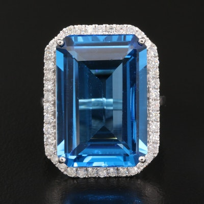 14K 25.05 CT Topaz and Diamond Rectangular Ring