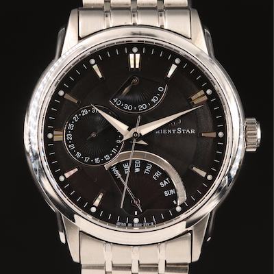 "Orient Star ""Retrograde"" Stainless Steel Automatic Wristwatch"