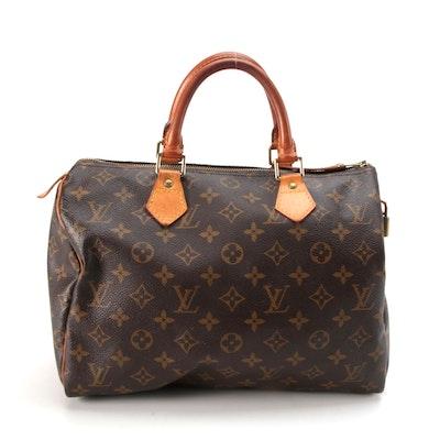 Louis Vuitton Speedy 35 Handbag in Monogram Canvas and Vachetta Leather