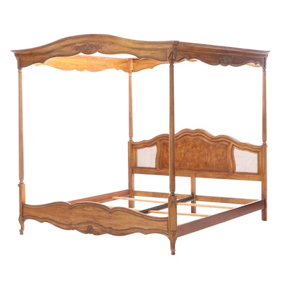 Thomasville French Provincial Walnut King Sized Canopy Bed Frame