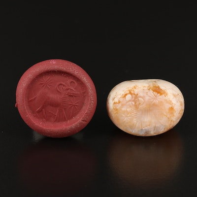 """Medieval Style Carved Agate """"Aries"""" Wax Seal Pendant"""