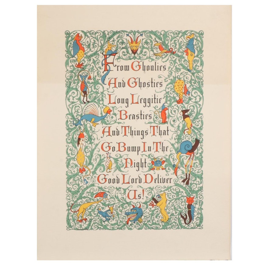 Old Scottish Litany Color Lithograph