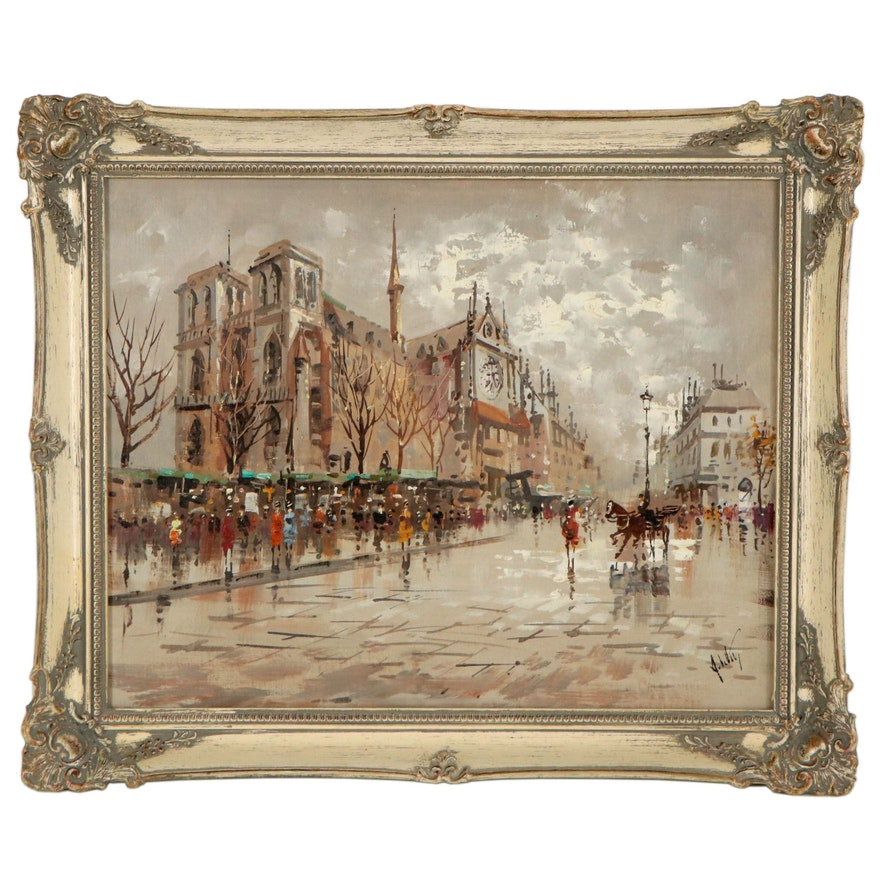 Antonio DeVity Oil Painting of Parisian Cityscape, Late 20th Century