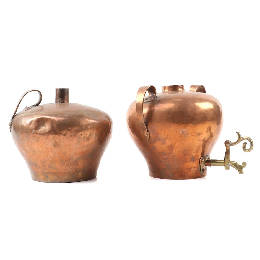 Russian Hammered Copper Beverage Dispenser and Jug, Early 20th Century
