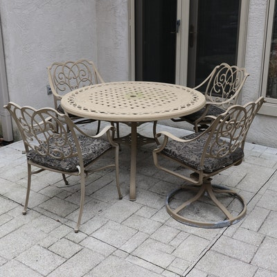 Outdoor Patio Openwork Metal Dining Table with Chairs