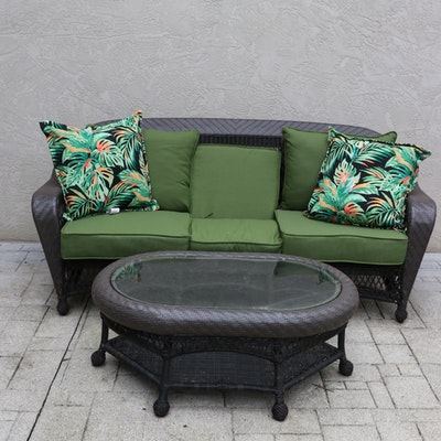 Outdoor Patio Woven Resin Wicker Sofa and Glass Top Coffee Table