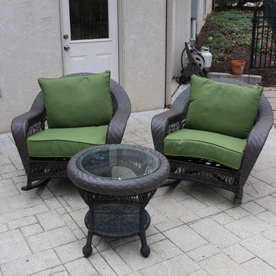 Outdoor Patio Woven Resin Wicker Rockers and Glass Top Side Table