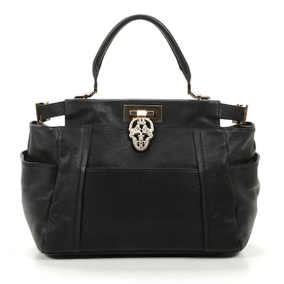 Thomas Wylde Top Handle Bag in Black Leather with Skull Clasp Detailing