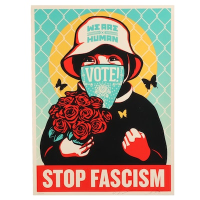 "Shepard Fairey and Ernesto Yerena Serigraph ""Vote! Stop Fascism,"" 2020"