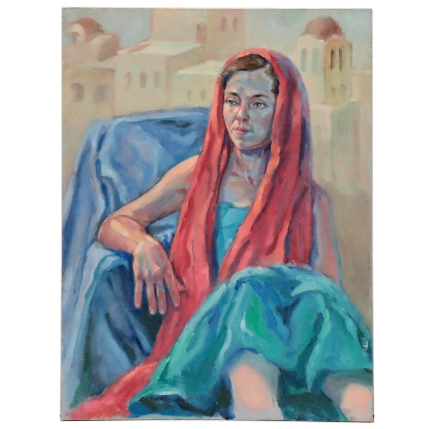 """Raymond Zaplatar Portrait Oil Painting """"Woman in Red Headscarf,"""" 2015"""