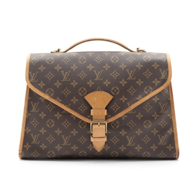 Louis Vuitton Beverly Briefcase in Monogram Canvas and Vachetta Leather