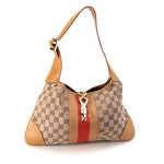 Gucci Shoulder Bag in Beige GG Canvas with Web Stripe and Tan Leather Trim