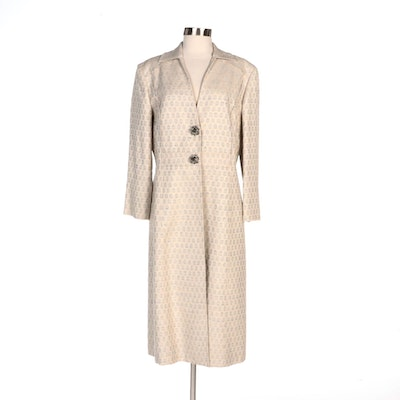 Carolina Herrera New York Jacquard Coat with Beaded Embellished Closures