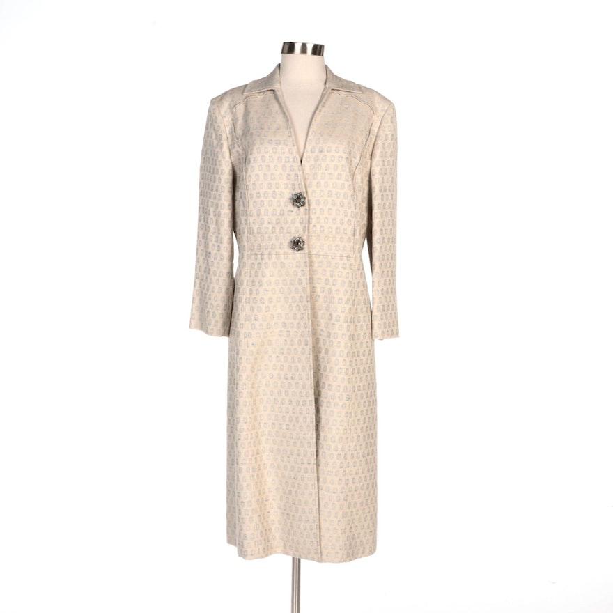 Carolina Herrera New York Jacquard Coat with Beaded Embellished Closures