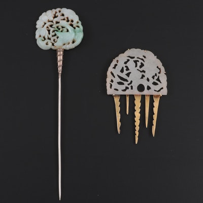Chinese Openwork Carved Nephrite Jade and Jadeite Hairpins