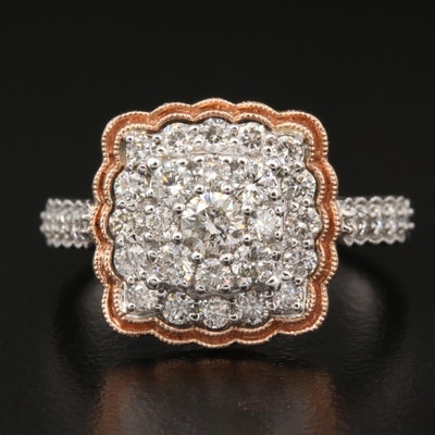 14K White and Rose Gold 1.01 CTW Diamond Ring