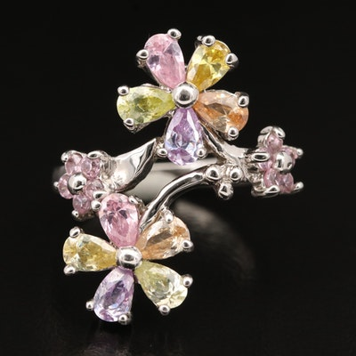 Sterling Cubic Zirconia Floral Ring