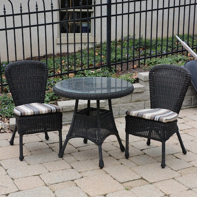 Outdoor Woven Resin Wicker Bistro Glass Top Table and Chairs