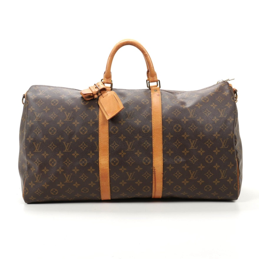 Louis Vuitton Keepall Bandouliere 55 in Monogram Canvas and Vachetta Leather