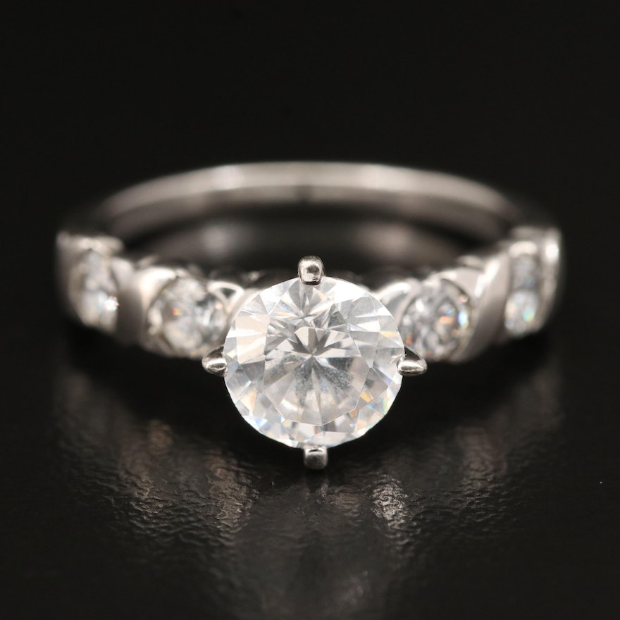 Sterling Cubic Zirconia Twisted Ring
