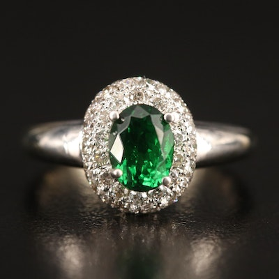 14K Tsavorite and Diamond Ring