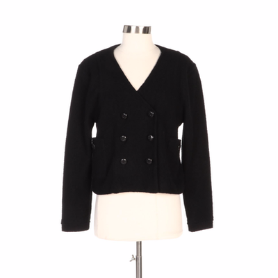Marc by Marc Jacobs Black Textured Woolen Double-Breasted Jacket
