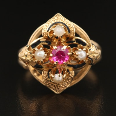 Victorian 18K Ruby and Pearl Ring with Taille d'Épargne Accents