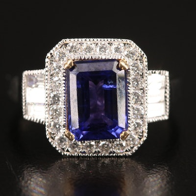 14K 2.79 CT Tanzanite and Diamond Ring with Euro Shank