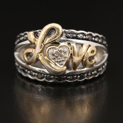"Sterling Diamond ""Love"" Ring"