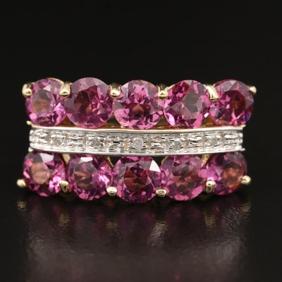 14K Rhodolite Garnet and Diamond Multi-Row Ring