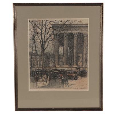 "Luigi Kasimir Etching ""Boulevard de la Madeleine, Paris,"" 20th Century"