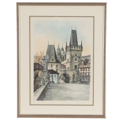 Hand-Colored Etching of Prague, 21st Century