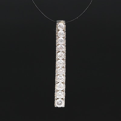 Sterling Cubic Zirconia Bar Pendant