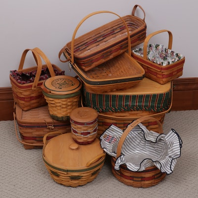 Longaberger Handcrafted Wood Baskets Including Golf Themed