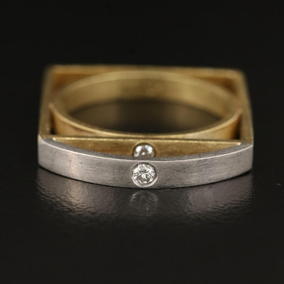 Contemporary 18K Diamond Ring with Platinum Setting