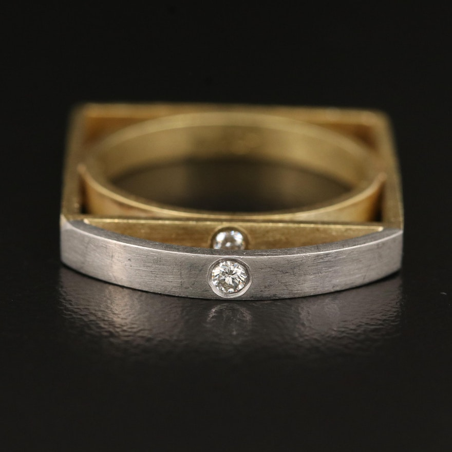 Contemporary 18K Diamond Ring with Platinum Setting