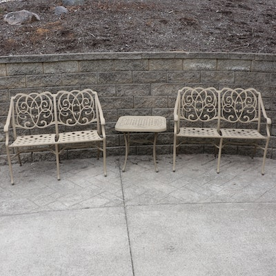 Outdoor Patio Openwork Metal Benches and Side Table