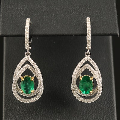 14K Emerald and 1.34 CTW Diamond Teardrop Earrings