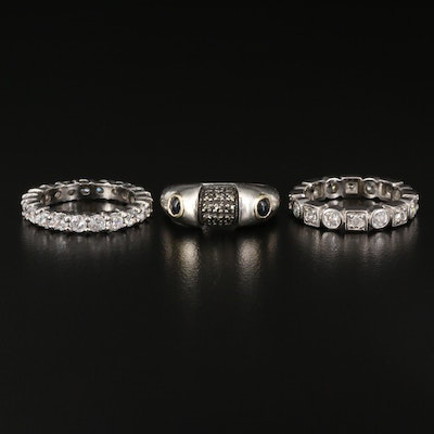 Sterling Gemstone Bands Including 14K Accent