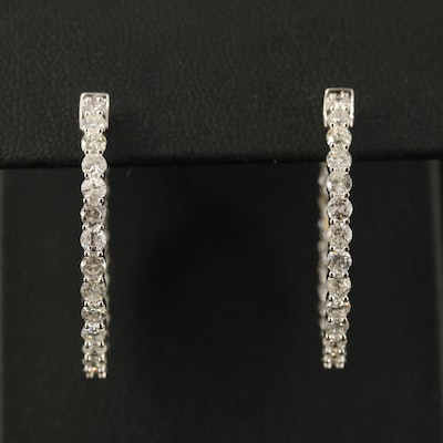14K 2.71 CTW Diamond Inside-Out Hoop Earrings