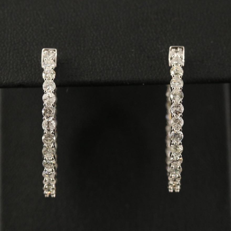 14K 2.71 CTW Diamond Inside-Out Hoop Earrings
